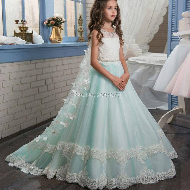 20e26c39bb Piękne Dzieci Suknie Wieczorowe Pierwsza Komunia Sukienki Dla Dziewczynek  Flower Girl Dress Z Stole Kryształy Szata