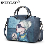 Brand Personality Messenger Bags Women Cartoon Beauty Embossed Leisure Handbag Girl Lovely Crossbody Bag Retro Shoulder