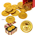 25 ШТ. Пластиковые Золотые Монеты Пиратский Сундук с сокровищами Играть Деньги На День Рождения Партия Выступает