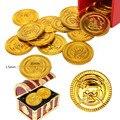 25 PCS Moedas de Ouro Pirata Baú de Plástico Jogar Dinheiro da Festa de Aniversário Favores