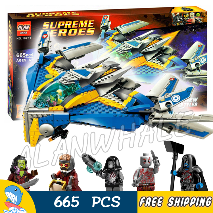 665pcs Super Heroes Guardians of the Galaxy Milano Spaceship Rescue 10251 Model Building Blocks Toys Bricks Compatible With Lego