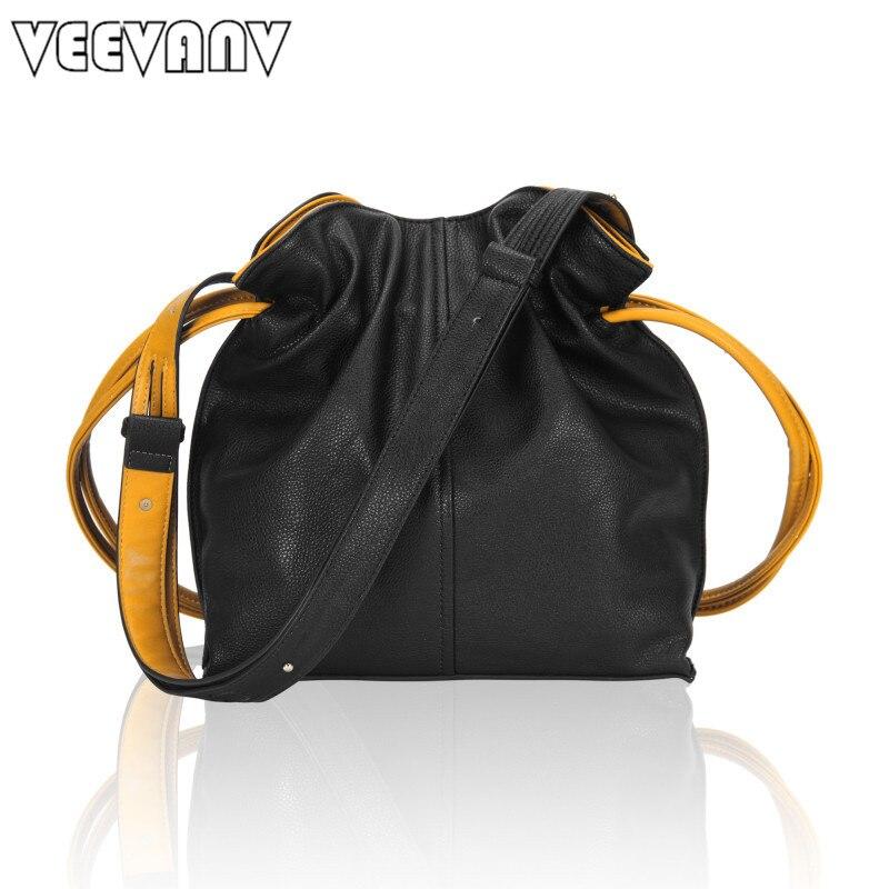 цены  2017 VEEVANV Women Messenger Bags Leather Shoulder Bag Office Lady Handbag New Designer Leisure Large Bucket Crossbody Bag Girls
