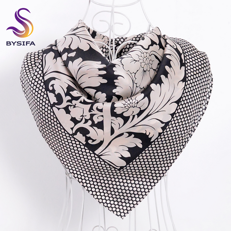 [BYSIFA] New Brand Twill Silk   Scarves     Wraps   Women Fashion Accessories Natural Pure Silk   Scarf   Shawl Spring Red Black Head   Scarf