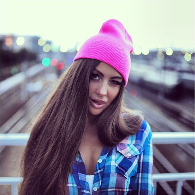 New Fashion Knitted Neon Hip-hop Hat Beanies Women Beanie Girls Autumn Casual Cap Men Warm Winter Hats Candy Color Skullies  new fashion winter cap for women knitted cap wool pure color hat men casual hip hop hats beanie warm hat warm hat plus size lb