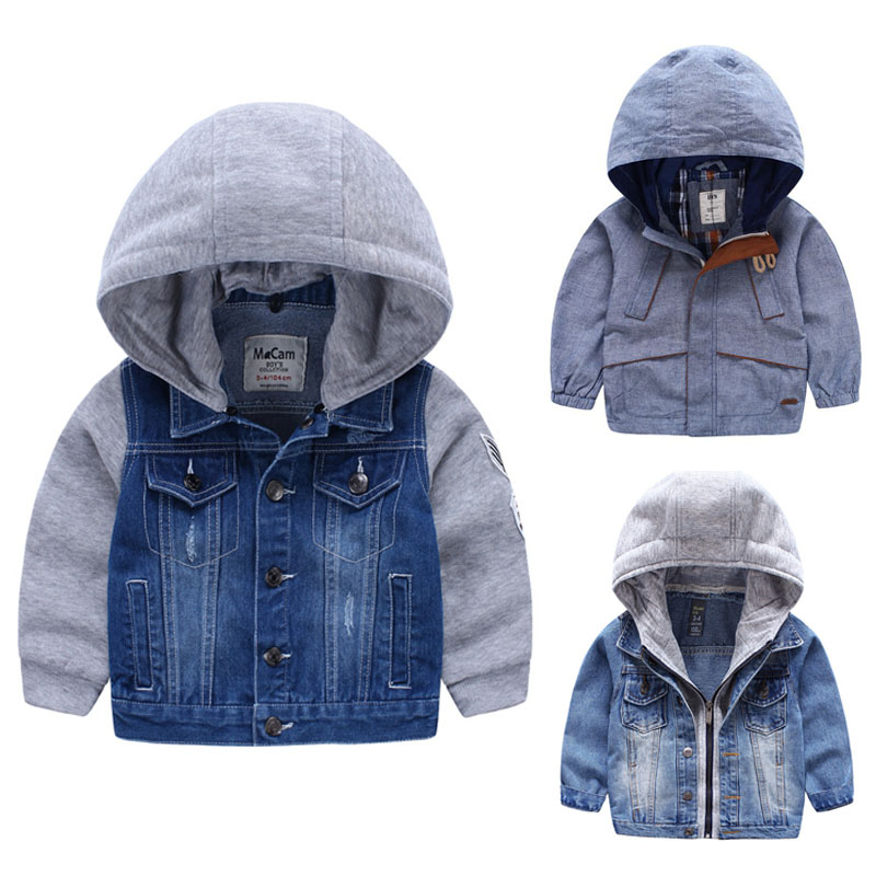 For 2-8 Yrs baby boys jacket Outerwear and Coat for boy children hooded denim jacket Patchwork Autumn Kids Boys Sweatshirts