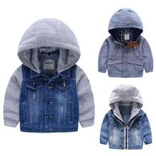 Для 2-8 Лет мальчики куртки Верхняя Одежда и Пальто для детей мальчика с капюшоном джинсовая куртка Лоскутная Осень Дети мальчики Кофты(China (Mainland))