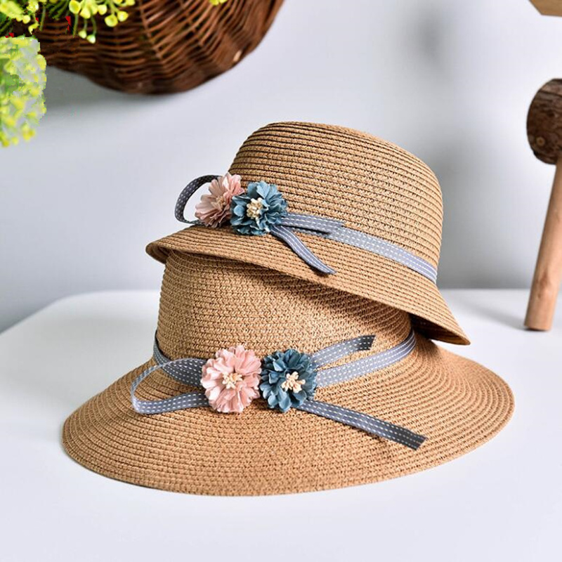 1 Pcs 2016 New Two Roses Children Sun Hat Spring Summer Sunscreen Women And Girl Straw Hat Parent-child Caps 5 Colors