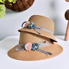 16afee387e187 1 piezas 2016 Nuevo dos rosas niños sombrero para el sol de primavera y  verano protector