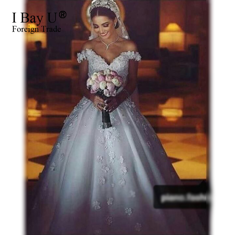 Luxury Lace Flower Wedding Dresses Ball Gowns Vestido De Novia Sexy Fluffy Muslim Wedding Dress 2017 Arabic Girl Engagement