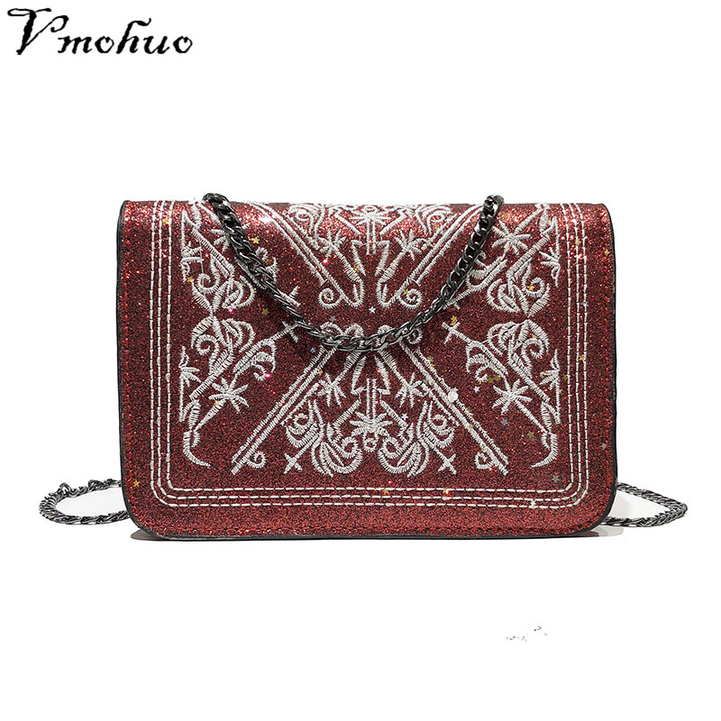 VMOHUO Mini Briefcase Leather Female Embroidery Bags Handbags Women Famous Brands Square Messenger clutch Bag Maleta Femina