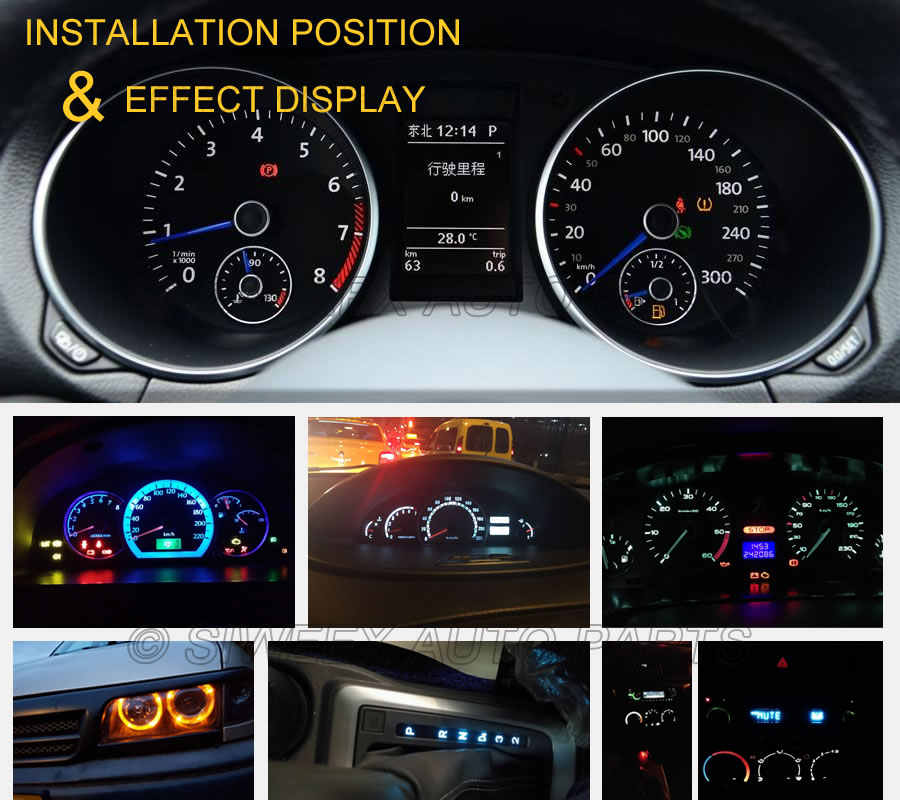 10pcs/Lot NW6 T4 2 2SMD LED Instruments Panel Dashboard Cluster Gauges Neo  Wedge Bulb White Ice Blue Red Green Yellow Pink Light