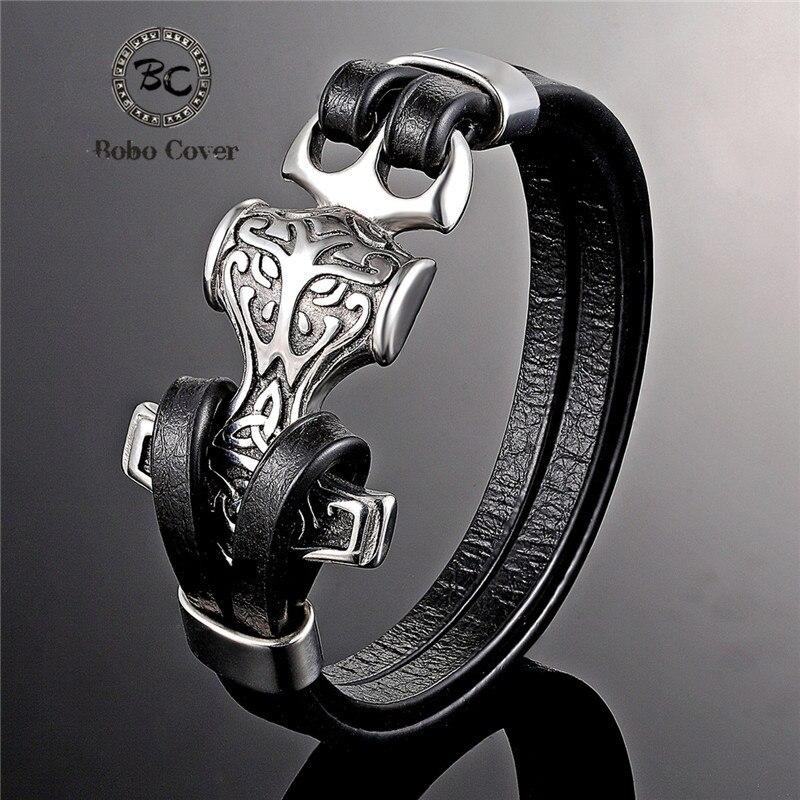 2019 Hot sale Punk Style Anchor Bracelet men women Genuine Leather Stainless steel Skull Eagle Bracelets Bangles Luxury Jewelry