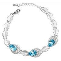 Silver Girl Crystal Bracelet 2016 Christmas Gift Fashion Rhinestone Bracelet Stone Jewelry Friendship Bracelet Bangles For