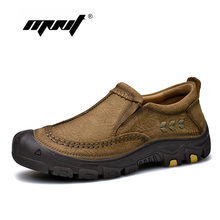 Купить с кэшбэком Natural leather men shoes retro style casual shoes loafers ,Handmade waterproof rubber flats outdoor shoes zapatos hombre