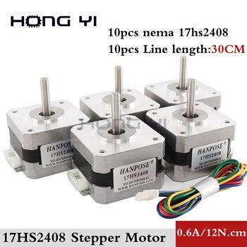 10 pcs / lots 17HS2408  4-lead Nema 17 Stepper Motor 42 motor 42BYGH  0.6A CE ROSH ISO CNC Laser Grind Foam Plasma Cut