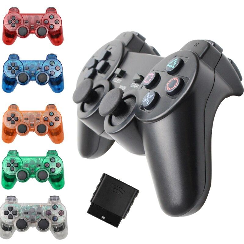 Gamepad sem fio para sony ps2 controlador para playstation 2 console joystick dupla vibração choque joypad controle sem fio