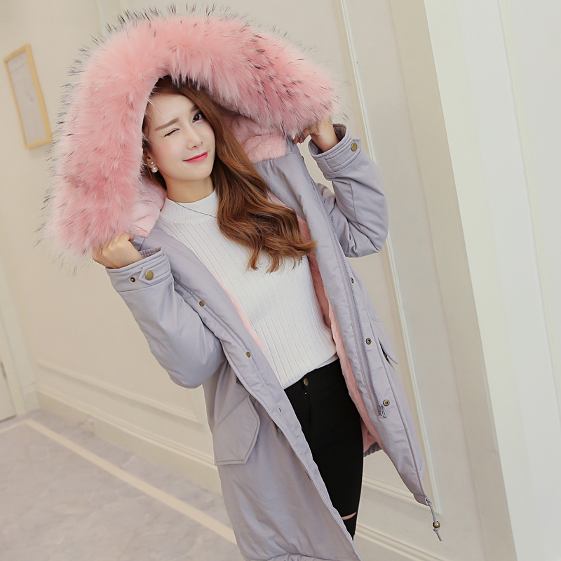 LSTU New Women Fur Collar Loose Coat Female Thick Warm Parka Long Plus Size Winter Jacket Women Hooded Coat Wadded Jacket plus size winter jacket parka women long coat big hooded fur collar loose female clothes thick warm woman jackets ladies coats