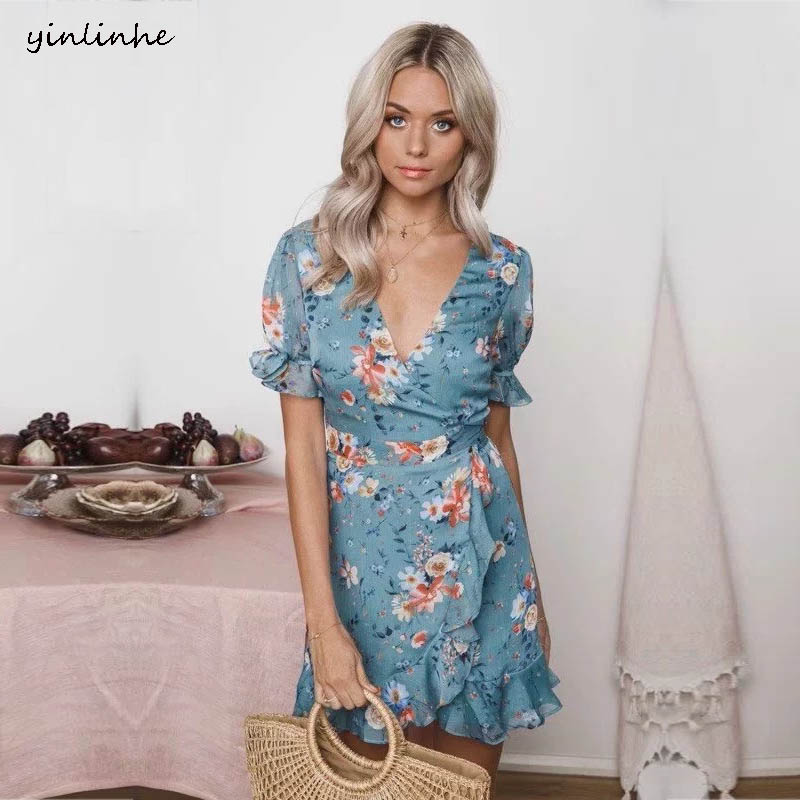Yinlinhe Blue Floral Chiffon/Summer Dress Cross V Neck