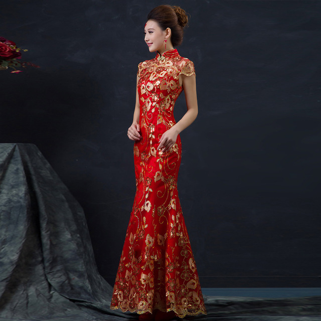 Red Chinese Wedding Dress Female Long Short Sleeve Cheongsam Gold Slim Traditional Women Qipao