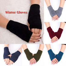 Winter Wool Knitted Fingerless Gloves For Women Winter Warm Wrist Short Gloves Fashion Ladies Cashmere Stretch Solid Mittens цена