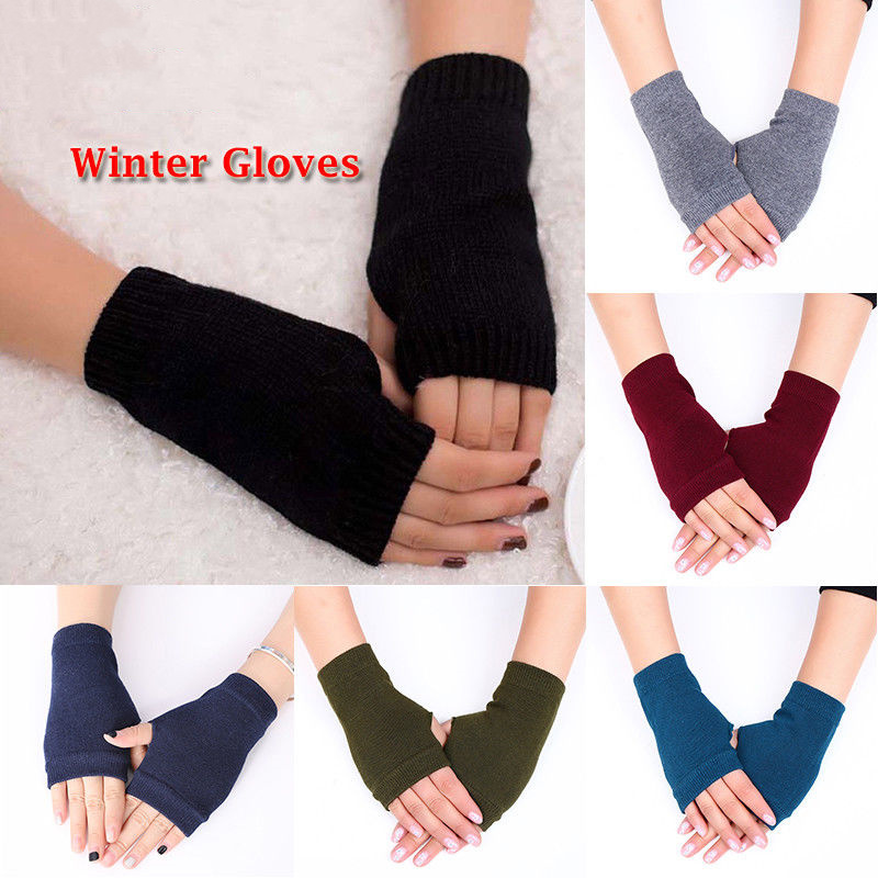 Winter Wool Knitted Fingerless Mittens Gloves For Women Winter Warm Wrist Short Gloves Ladies Cashmere Stretch Women's Mittens