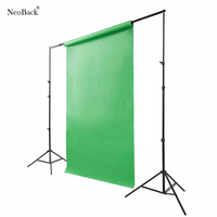 NeoBack 2X2M Adjustable Background Support Photo Backdrop with 3pc Sectional Cross bar Photography Stand Kits 3 clips