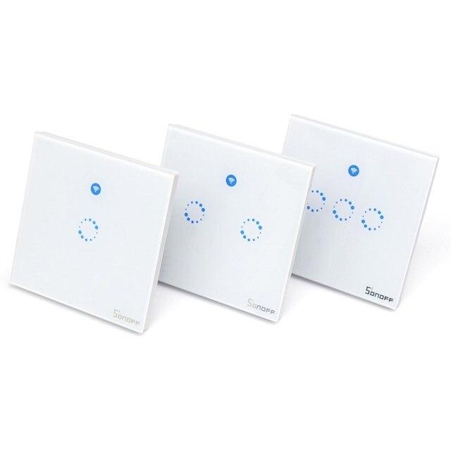 Sonoff T1 האיחוד האירופי בריטניה חכם WiFi RF 433/אפליקציה/מגע בקרת אור קיר מתג 1/2/ 3 כנופיית 86 סוג קיר מגע מתג חכם בית