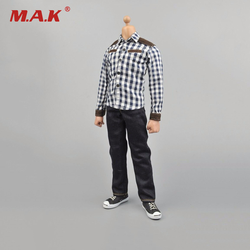 Male 1/6 Scale Plaid Shirt & Jeans Pants & Shoes Suit Set Model Toys For 12 Man Action Figure Body Accessory