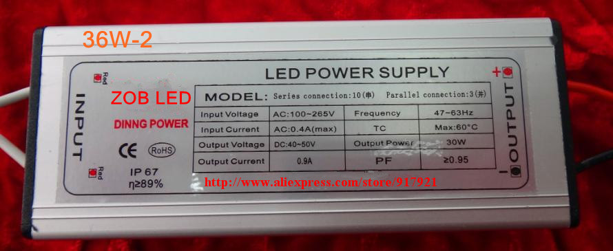 36w led driver DC120-140V,0.3A,high power led driver for flood light / street light,constant current drive power supply,IP65