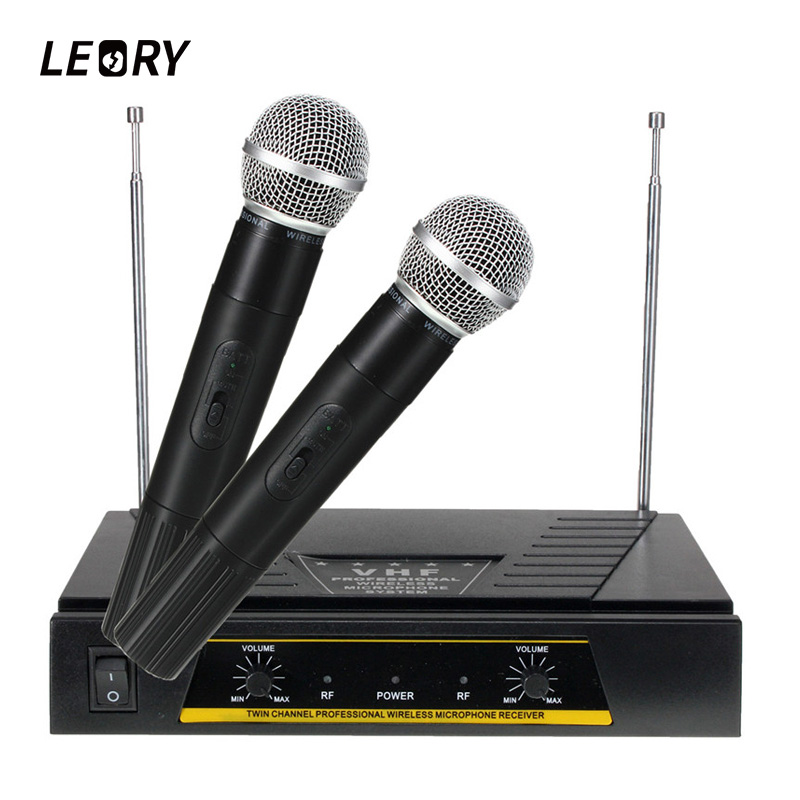 LEORY Professional Karaoke VHF Wireless Microphone System 220V 2 Channels Handheld Microphone Mic With Receiver For KTV Singing wireless microphone professional handheld microfone condenser fm bluetooth mic with receiver uhf mic for karaoke ktv system