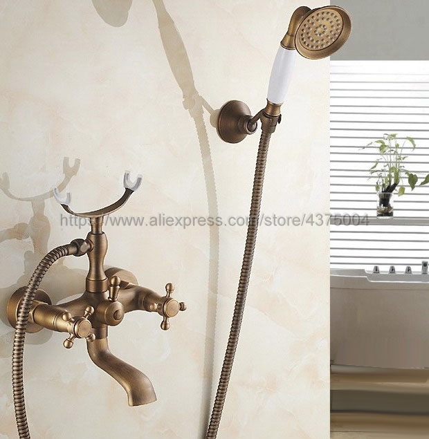 Antique Brass Wall Mount Telephone Euro Bath Tub Faucet Mixer Tap w/ Handheld Spray Shower Ntf154 classic antique brass telephone style handheld shower head dual handles bath tub mixer tap wall mounted bathroom faucet wtf313