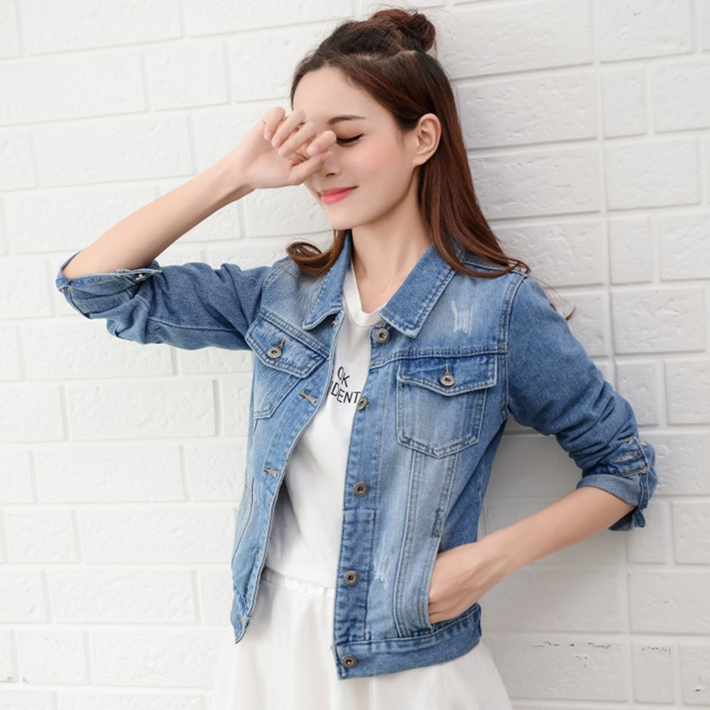 Plus Size Ripped Hole Cropped Jean Jacket Light Blue Bomber Short Denim Jackets Jaqueta Long Sleeve Casual Jeans   Coat