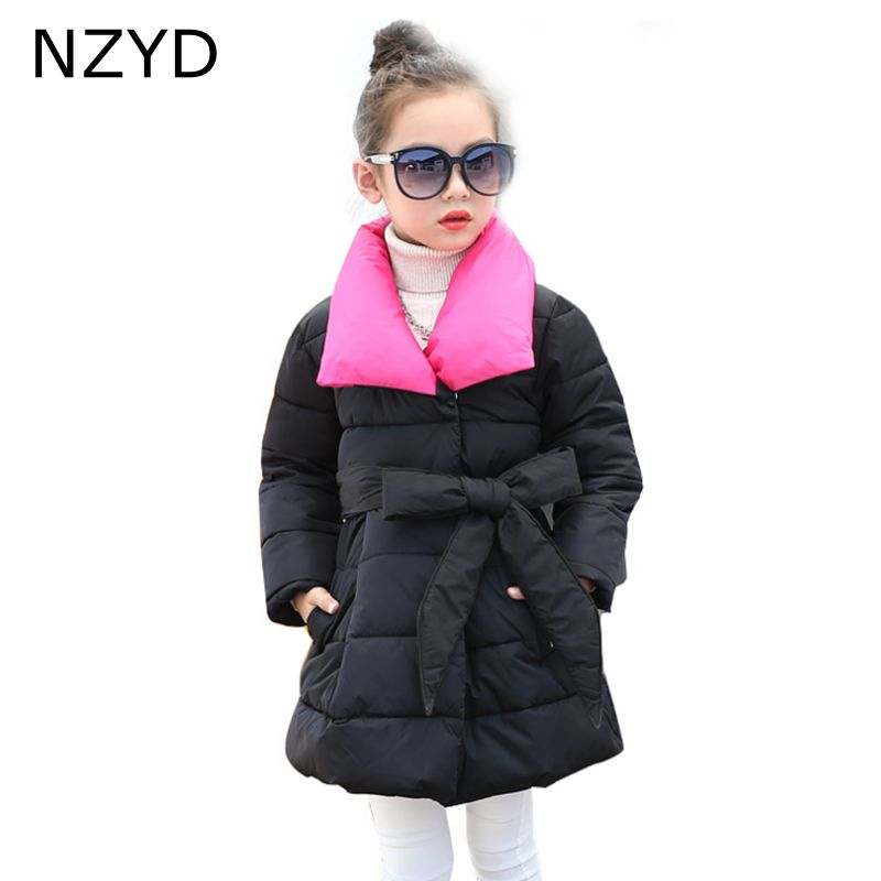 New Fashion Winter Cotton Girls Coat 2017 Children Han edition Thicken Warm Coat Casual Elegant Kids Clothes 6-13Y DC660 цены онлайн