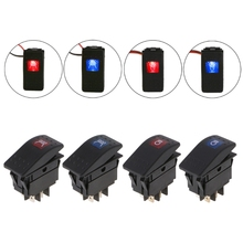 1 LED 4PIN Car Marine Yacht Boat Rocker Toggle Switch Blue/Red High Beam/Roof LED Light Bar ON OFF 12V/20A SPST(China)