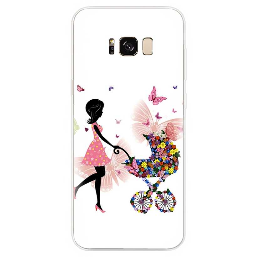 Capa de Silicone Para Samsung Galaxy J1 J3 J4 J5 J6 J7 S9 S9 plus A3 A5 A7 A8 A30 A50 2016 2017 2018 da menina de Flor Capa AB062