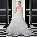 Charming Cheap 2015 Vestidos De Novia Scoop Ball Gown Tiered Wedding Dresses Button Back Sleeveless Bridal Gown BOP2145