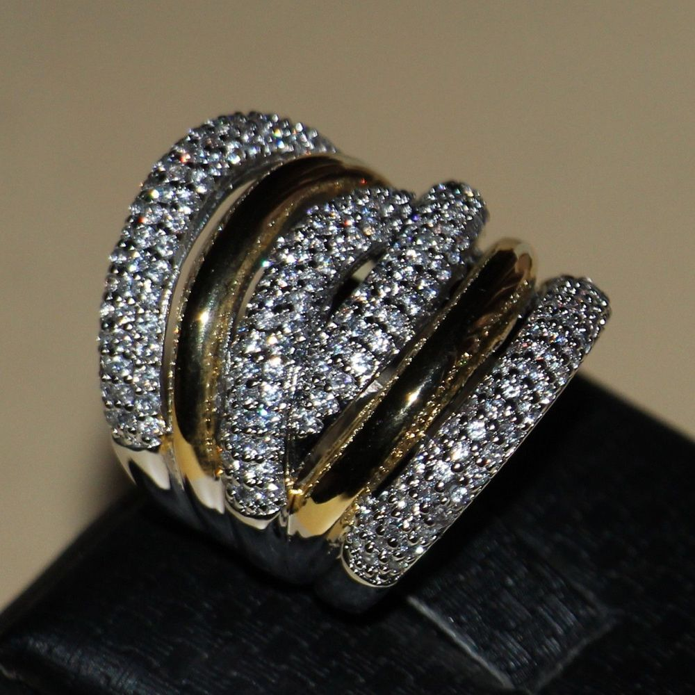 Size 511 Free Shipping Luxury Jewelry Diamonique 14kt White Gold Filled  Wedding Simulated Stones Band Women Ring Gift