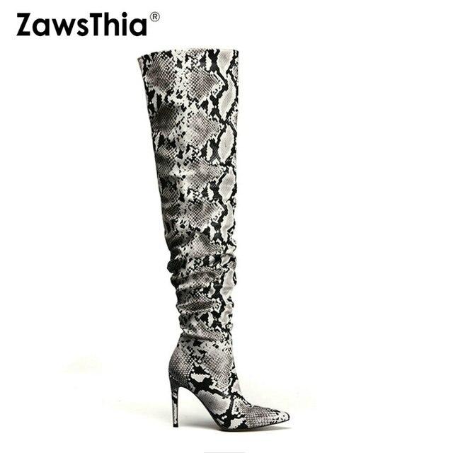ZawsThia Slouch Uyluk Yüksek Çizme Yılan Derisi Diz Çizmeler üzerinde Seksi Süper Yüksek Ince Topuk Pilili Sivri Burun Overknee çizmeler