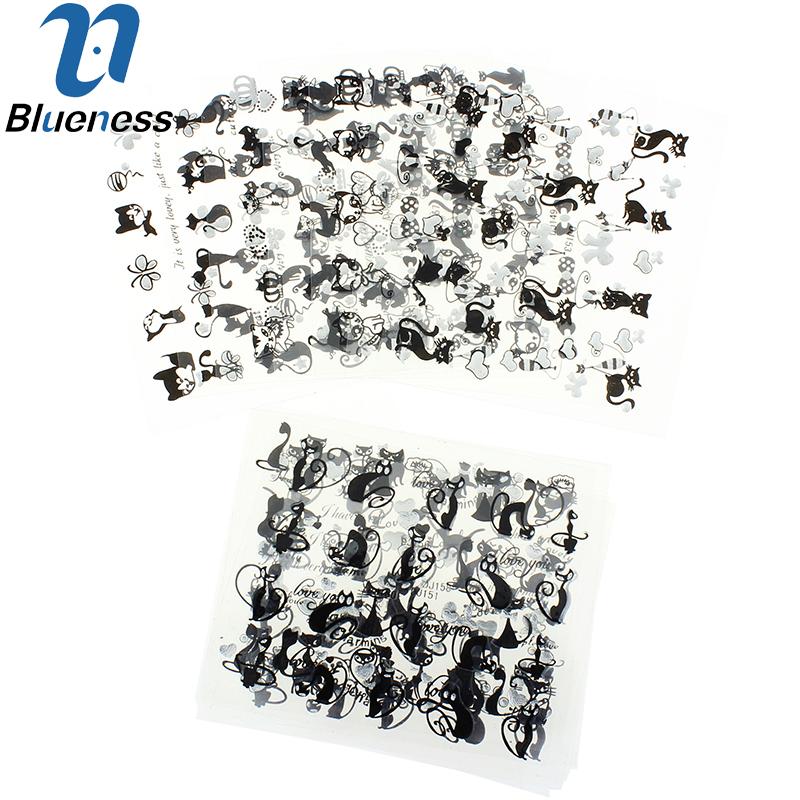 Nail Art Sticker 12Lot Black Persian Cat Design Manicure Decals Beauty Transfer Stickers For Nails 3D Art Tips Free Shipping 3d 12 candy colors glass fragments shape nail art sequins decals diy beauty salon tip free shipping