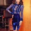 Women Sexy Lace Velvet Long Sleeve 2017 Evening Party Bodycon Split Slim Dress