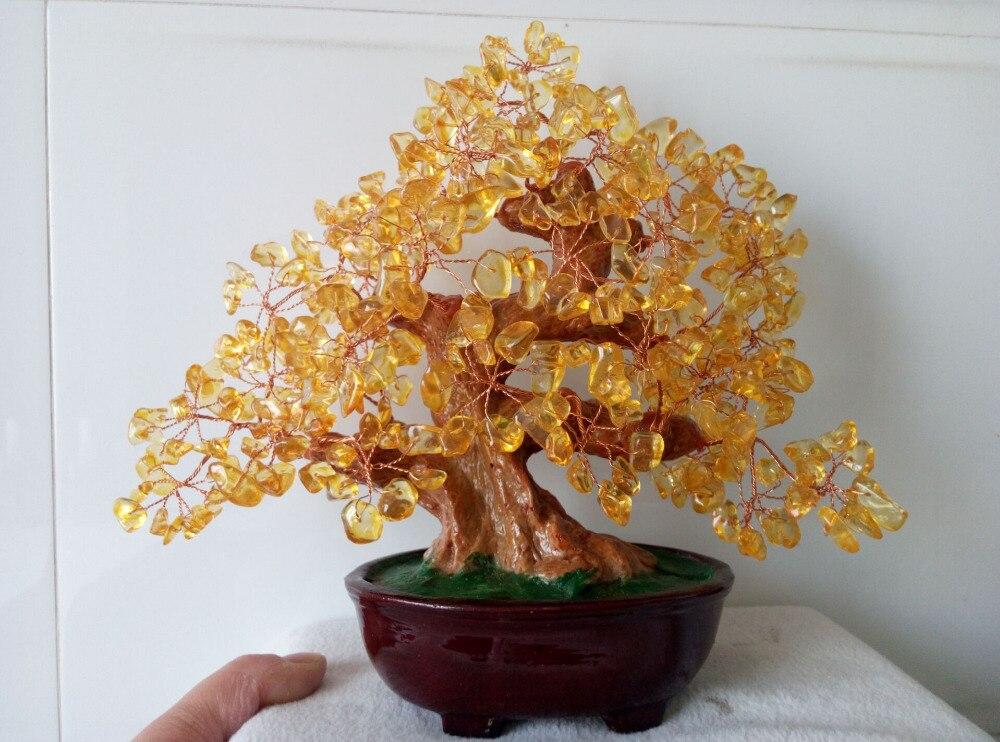 Pierre gemme en Citrine naturelle Feng Shui | 590-650g, arbre d'argent