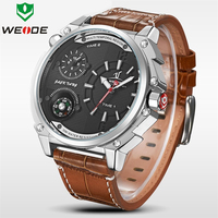 WEIDE Luxury Brand Fashion Casual Watch Men Quartz Leather Time Zone Clock Man Sports Watches Waterproof Men's Dress Wristwatch