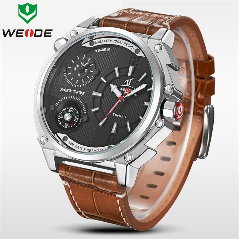 все цены на WEIDE Luxury Brand Fashion Casual Watch Men Quartz Leather Time Zone Clock Man Sports Watches Waterproof Men's Dress Wristwatch