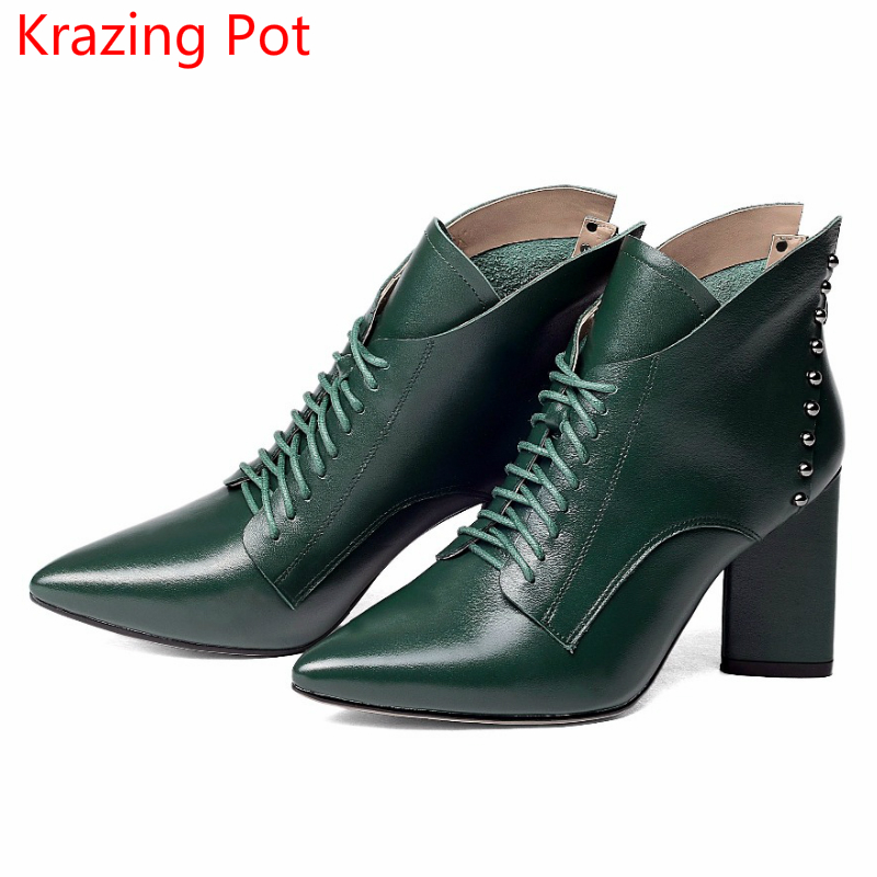 2018 Superstar Cow Leather Pointed Toe Rivets Fashion High Heel Lace Up Winter Boots Winter Shoes Office Lady Ankle Boots L66 fashion pointed toe lace up mens shoes western cowboy boots big yards 46 metal decoration