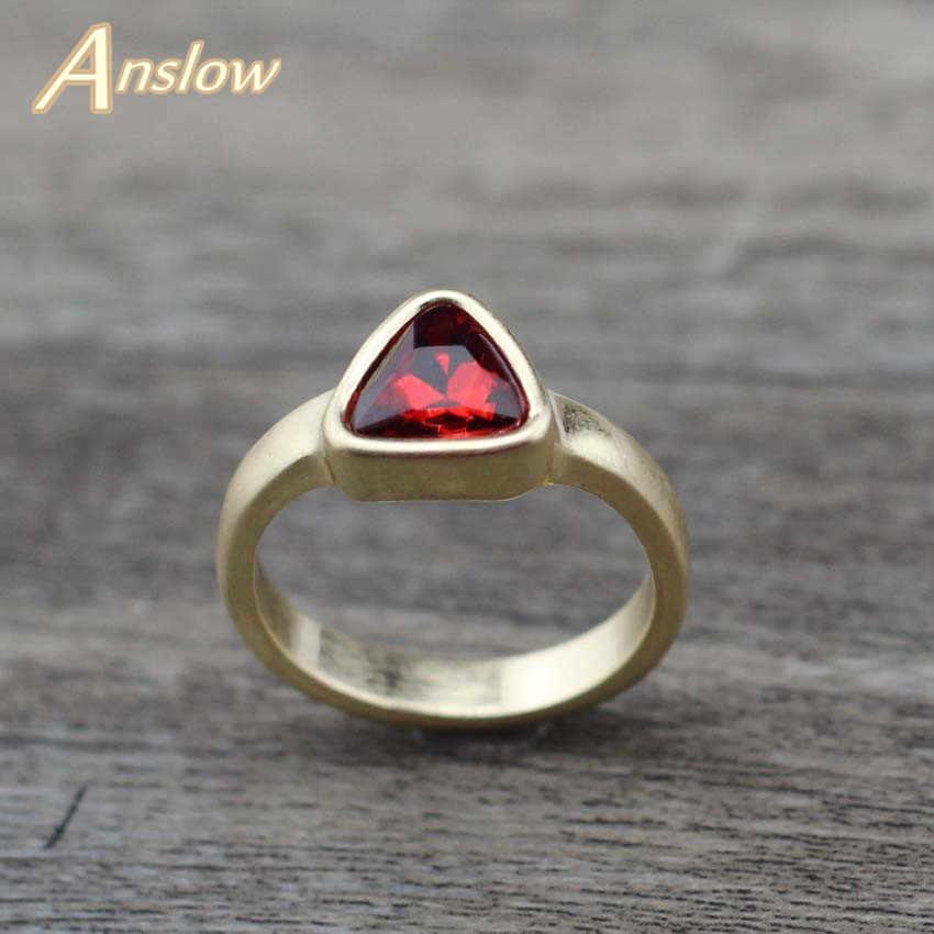 Anslow 2019 Creative Original Design แฟชั่นสามเหลี่ยมคริสตัลหมั้นแหวนผู้หญิงเครื่องประดับหญิงอุปกรณ์เสริม LOW0003AR