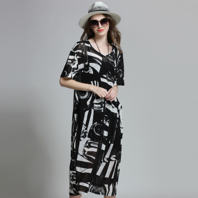 New 2016 Big size women long knitted dress loose slimming summer geometric elegant plus size short sleeve casual dress XXXXL6135 plain loose long sleeve plus size dress
