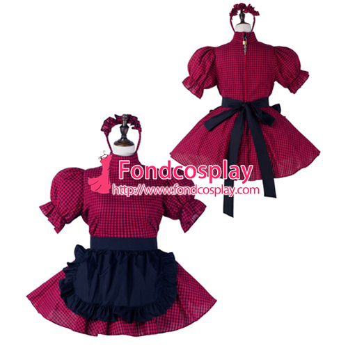 Sissy maid cotton dress lockable Uniform cosplay costume Tailor-made[G2233]