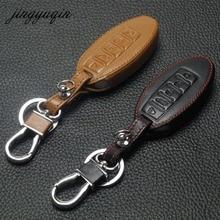 Jingyuqin 5btn caso chave de couro para nissan altima maxima infiniti ex fx g37 q60 qx50 qx70 inteligente keyless entrada remoto fob capa