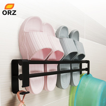 цена ORZ Wall Mounted Shoe Organizer Home Slipper Rack Shoe Storage Shelf with Hanging Hooks Bathroom Organizer Shelf Slippers Rack онлайн в 2017 году