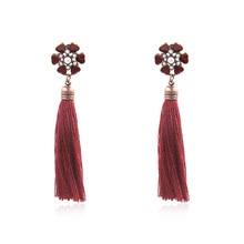 Bohemia Vintage Ethnic Silk Fabric Hanging Dangle Drop Earrings Red Trendy Ethnic Boho Women Long Tassel Earrings цена